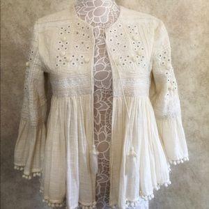 Zara woman jacket coat bohemian 3/4 sleeve